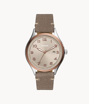 Wylie Three-Hand Date Taupe Leather Watch