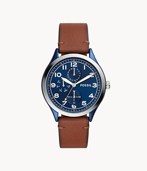 Wylie Multifunction Brown Leather Watch