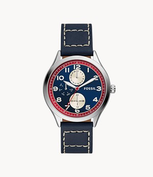 Wylie Multifunction Blue Leather Watch