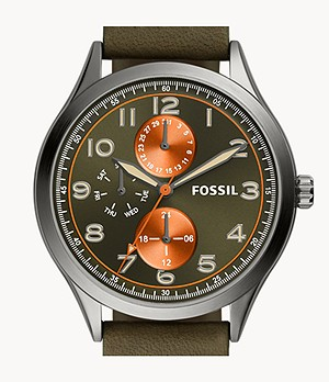 Wylie Multifunction Green Leather Watch