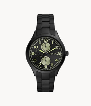 Wylie Multifunction Black Stainless Steel Watch