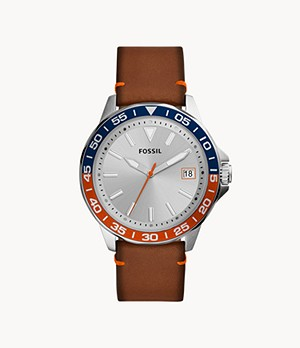Bannon Three-Hand Date Luggage Leather Watch