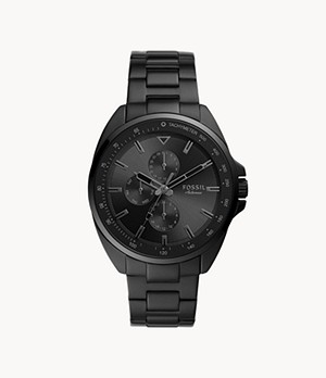 Autocross Multifunction Black Stainless Steel Watch