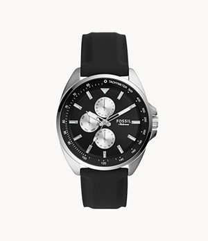 Autocross Multifunction Black Silicone Watch