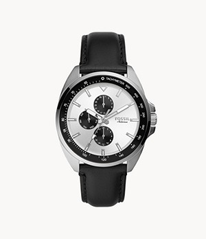 Autocross Multifunction Black Leather Watch