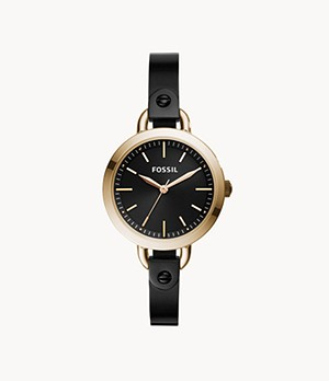 Classic Minute Three-Hand Rose-Gold-Tone Black Stainless Steel Watch