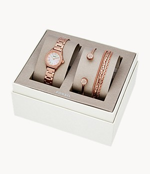 Blythe Three-Hand Rose Gold-Tone Stainless Steel Watch and Jewelry Gift Set