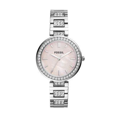 Karli Three-Hand Stainless Steel Watch Jewelry