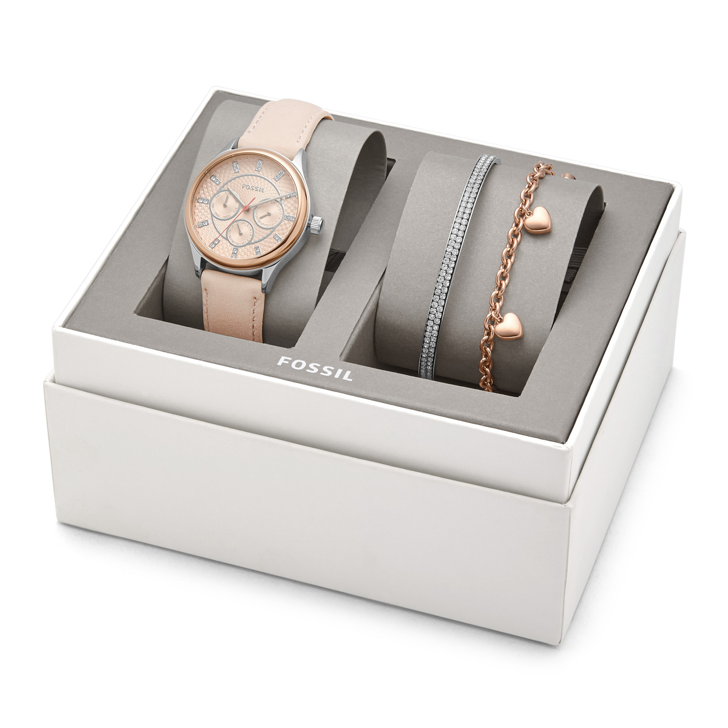 Finest Modern Sophisticate Multifunction Nude Leather Watch and Jewelry  EG71