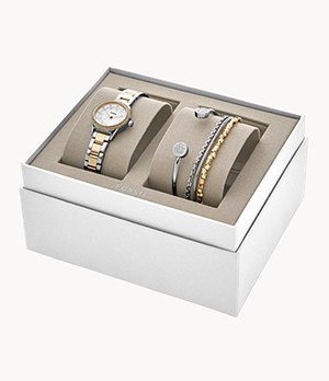 Blythe Three-Hand Two-Tone Stainless Steel Watch and Jewellery Gift Set
