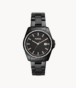 Janice Three-Hand Black Stainless Steel Watch