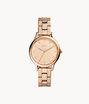 Laney Three-Hand Rose Gold-Tone Stainless Steel Watch
