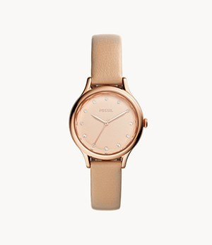 Laney Three-Hand Tan Leather Watch