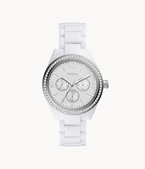 Caleigh Multifunction White Acetate Watch