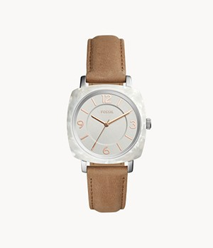 Blakely Three-Hand Tan Leather Watch