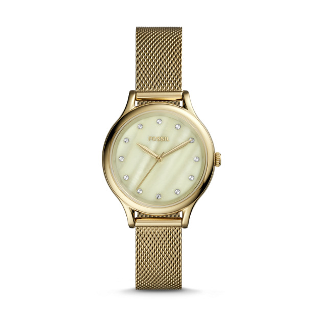 Laney Three Hand Gold Tone Stainless Steel Watch by Fossil