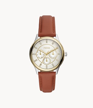 Modern Sophisticate Multifunction Brown Leather Watch