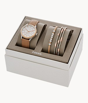 Modern Sophisticate Multifunction Tan Leather Watch And Jewellery Gift Set