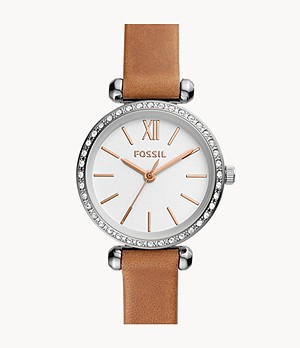 Tillie Mini Three-Hand Brown Leather Watch