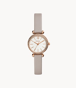 Tillie Mini Three-Hand Gray Leather Watch