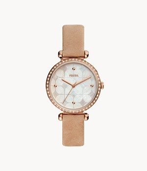 Tillie Three-Hand Tan Leather Watch