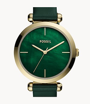 Tillie Three-Hand Dark Green Leather Watch