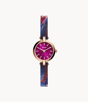 Kerrigan Mini Three-Hand Pink Multi-Colored Acetate Watch