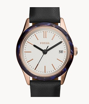 Adalyn Three-Hand Date Black Leather Watch