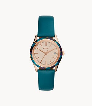 Adalyn Three-Hand Date Teal Leather Watch