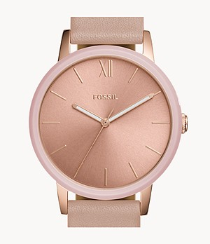 Cambry Three-Hand Blush Leather Watch