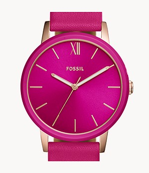 Cambry Three-Hand Pink Leather Watch