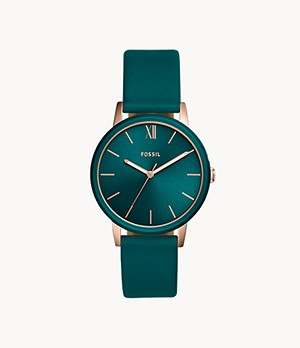 Cambry Three-Hand Teal Leather Watch
