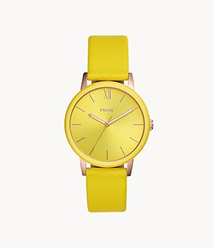 Cambry Three-Hand Yellow Leather Watch