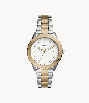 Dayle Three-Hand Date Two-Tone Stainless Steel Watch