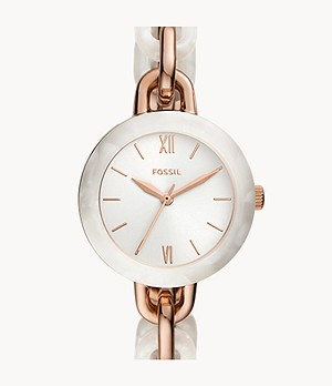 Embry Three-Hand Two-Tone Stainless Steel and Acetate Watch