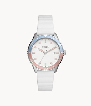 Dayle Three-Hand Date White Silicone Watch