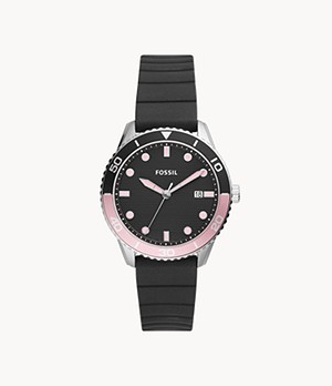 Dayle Three-Hand Date Black Silicone Watch