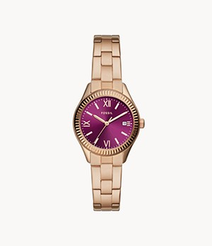 Rye Three-Hand Date Rose Gold-Tone Stainless Steel Watch