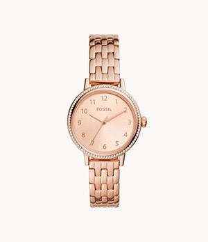 Reid Three-Hand Rose Gold-Tone Stainless Steel Watch