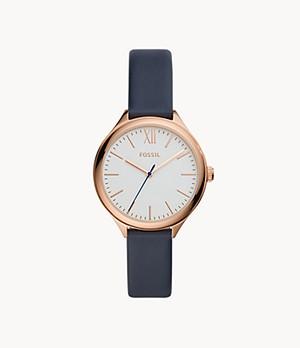 Suitor Three-Hand Blue Leather Watch