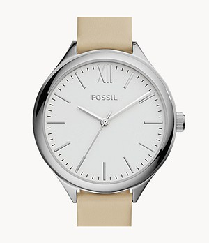 Suitor Three-Hand White Leather Watch