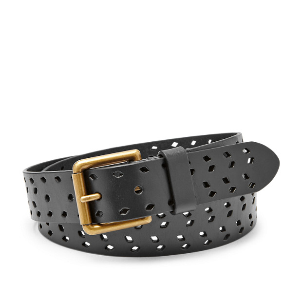Damen Gürtel - Diamond Perforated Belt