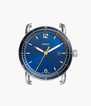 The Commuter Three-Hand Date Blue Stainless Steel Watch Case