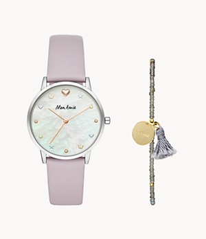 Mon Amie Iconic Health Lilac Leather Watch and Bracelet Set