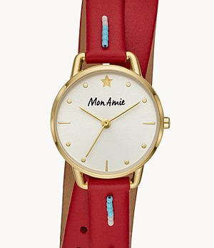 Mon Amie Kenya Education Red Leather Watch