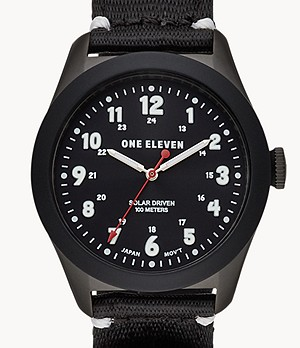 One Eleven Solar Powered Sustainable Field Watch Black rPet