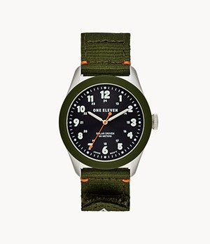 One Eleven Solar Powered Sustainable Field Watch Olive rPet
