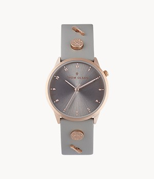 Thom Olson Women's Taupe Leather Strap Watch 34mm