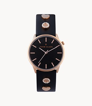 Thom Olson Women's Black Leather Strap Watch 34mm