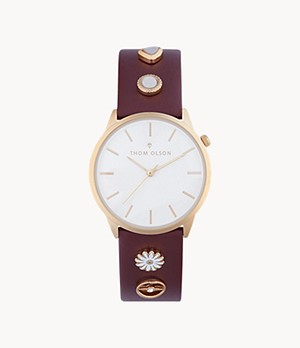 Thom Olson Women's Burgundy Leather Strap Watch 34mm